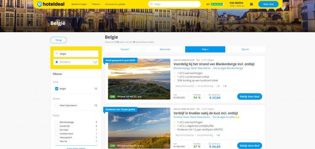 Hoteldeal: aantrekkelijke reisaanbiedingen in verschillende Belgische badsteden