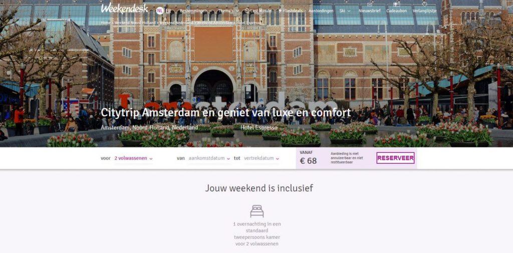 Weekendesk – hoteldeal Amsterdam vanaf € 34 p.p.
