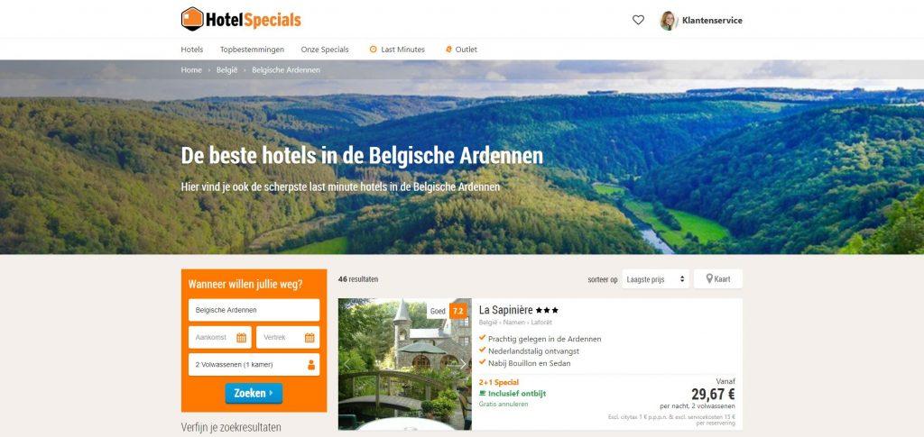 Goedkope last minutes in de Ardennen via HotelSpecials