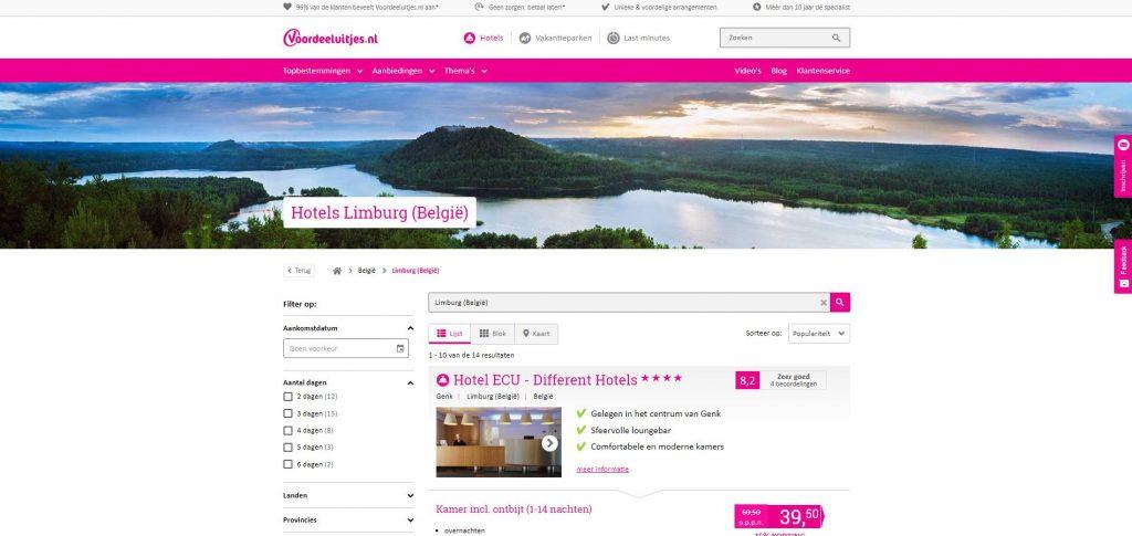 Voordeeluitjes.nl: hotelaanbiedingen in Limburg met scherpe kortingen