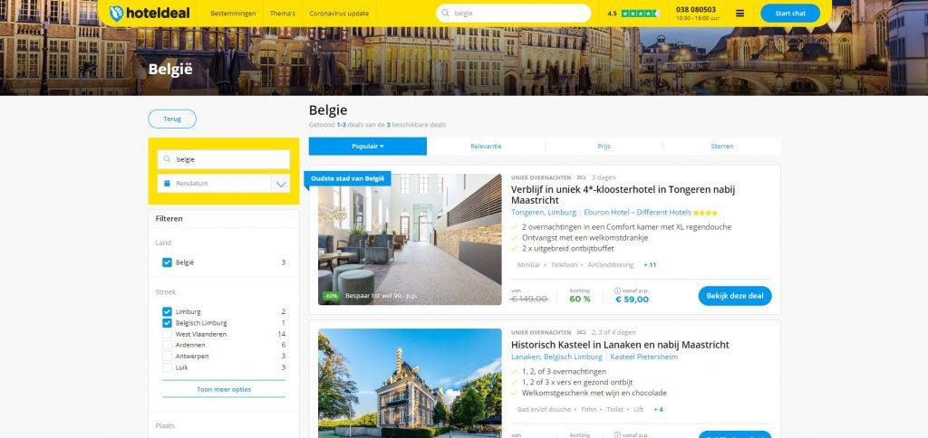 Hoteldeal: hotelaanbiedingen in Limburg aan scherpe prijzen